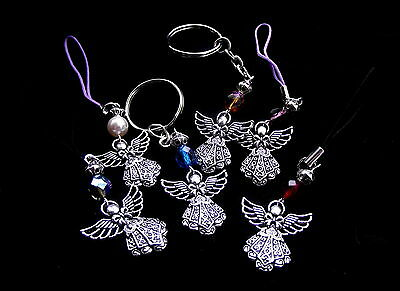 Guardian Angel Keyring / Lariat - Bag / Mobile charm - You Choose Colour & Style