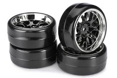 Absima Mesh Wheels with Profile B Drift Tyres Black/Chrome 4pcs 2510041