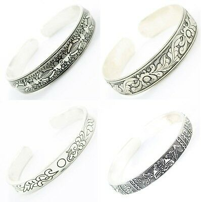 Miao Silver Ethnic Tribal Jewelry Tibetan Cuff Bangle Bracelet in Various Styles