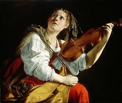 Huge Oil painting Violinist nice young girl playing violin handpainted on canvas