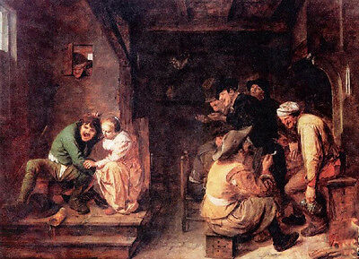 Classic art Oil painting Tavern Scene People chat and drunken man with his wife