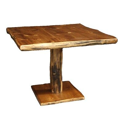 Log Pedestal Table   Country Western Rustic Cabin Wood Kitchen Furniture  Decor