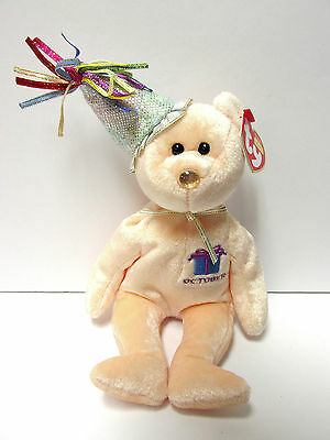 "Ty Beanie Baby ""October"" w/Party Hat, Birthday Beanie Collection, New-Mint Tags"