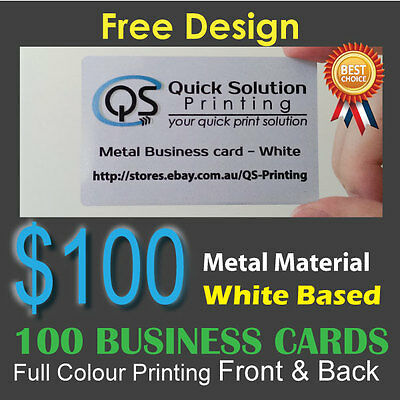 100 Metal Material Business Cards Full Colour Printing Front&Back - White Based