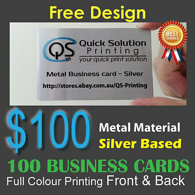 100 Metal Material Business Cards Full Colour Printing Front&Back - Silver Based