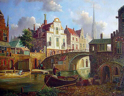 Art Oil painting Old Dutch street landscape & canoe bridge church canvas 36""