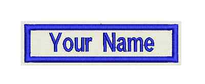 "Rectangle Custom Embroidered Name Tag, Biker Patch, badge 4""x1"""