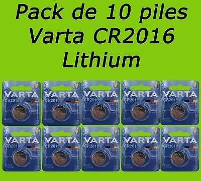 LOT 10 PILES BOUTON LITHIUM VARTA CR2016 6016 PROFESSIONAL ELECTRONICS 3V 90mAh