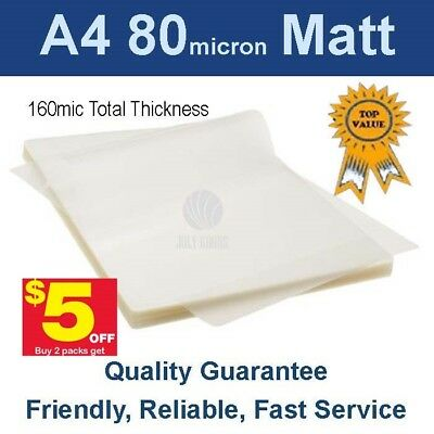 A4 Laminating Pouches Film 80 Micron Matt (PK 100) -Buy 2 packs get $5 off