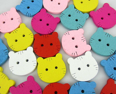 Free Shipping 100PCS Mixed Cat Face Pattern Painting  Wood Buttons 19x19mm