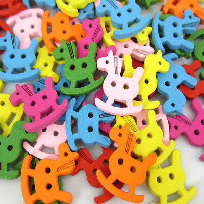 Free Shipping 100PCS Mixed wooden horse Pattern Painting  Wood Buttons 20x23mm