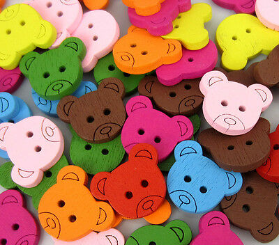 Free Shipping 100PCS Mixed Bear Pattern Painting  Wood Buttons 16x18mm