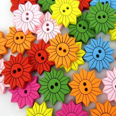 Free Shipping 100PCS Mixed Sunflower Pattern Painting  Wood Buttons 18.0mm