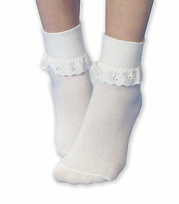 6 Pairs Girls White Cotton rich lace top Socks 9-12, 4-6 years