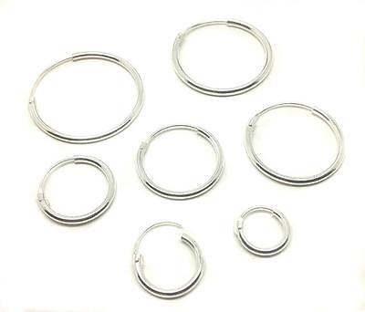 Single Mens Sterling Silver Hoop Sleeper Earring 6mm-18mm Tiny-Small-Large New