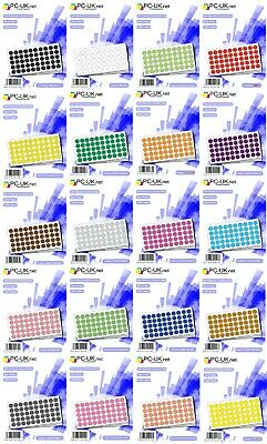 650 Coloured Dot Stickers Colour Round Spots Self Adhesive Dots Labels Paper 8mm
