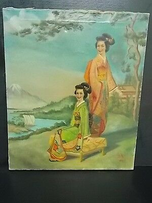 Antique Artist Signed Chinese Japanese Geisha Painting