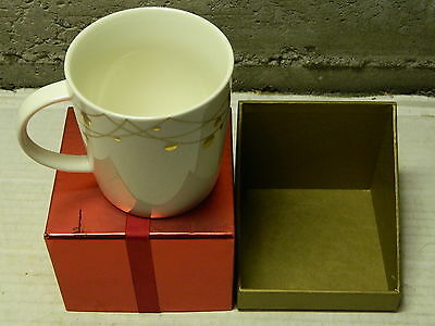 Starbucks PORCELAINE Coffee Mug cup, GOLD TRIM  2012 NEW IN BOX
