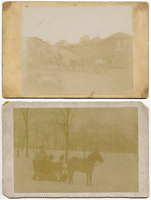 Horse W/ Sled And Horses W/ Wagon - Set Of 2 Vintage Cabinet Cards