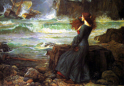 Huge Oil painting young girl portrait by beach with Shipwreck broken ship canvas