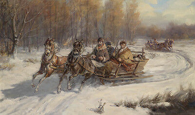 Beautiful Oil painting old people on the horse-drawn sleigh in winter landscape
