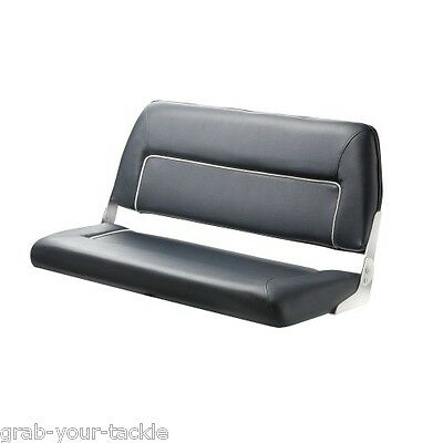 BOAT Seat Bench Seat Deluxe   Folding Seat 2 Person Marine Blue / White trim