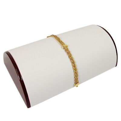 Bracelet Display Half Moon Style Rosewood With White Faux Leather