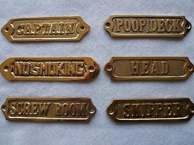 Nautical Brass Signs ~ Captain, Poop Deck, Head, Skipper ~ Boat Bath Wall Decor