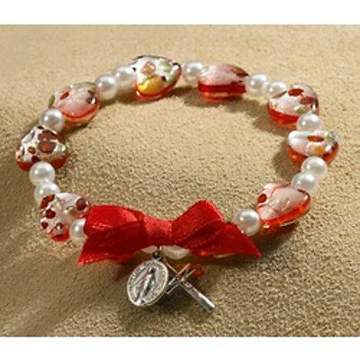 Murano Red Heart Glass Bead Rosary Bracelet