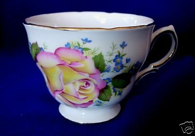 Vintage RIDGWAY Royal Vale Bone China Roses/Violets Footed Cup - Made in England