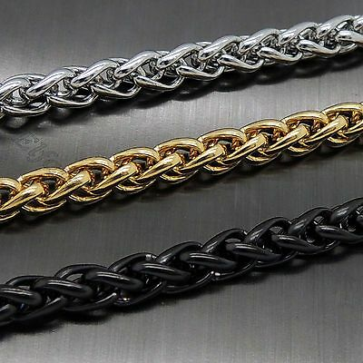 "MENS 6MM 16""-36"" Silver/Gold/Black Stainless Steel Wheat Braided Chain Necklace"