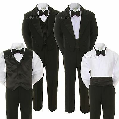 6pc Boy Baby Kid Teen Black Formal Wedding Party Formal Tail Tuxedo Suit sz S-20