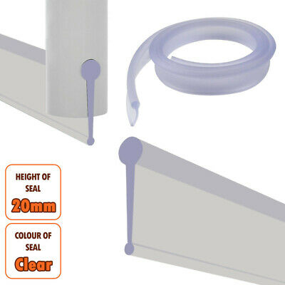 ECOSPA Rubber /& Plastic//Shower Screen Seal Strip for 6-8mm Straight Glass Screens or Doors /• Seals Gaps Between 8-15mm