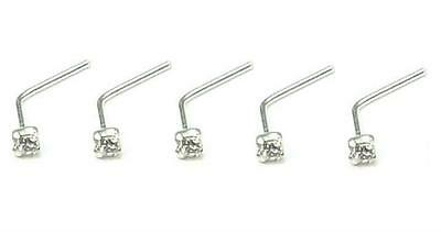 5 X Solid Sterling Silver Nose Studs Clear CZ Jewel Clawset 0.6mm Stem