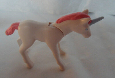J259 PLAYMOBIL White Unicorn with Pink Mane  Blue Eyes and Blue Horn