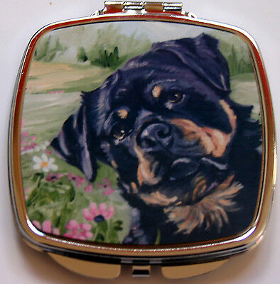 ROTTWEILER dog ladies handbag mirror compact purse Sandra Coen sublimation print