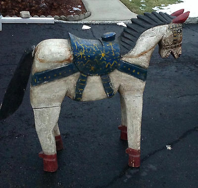 Large Antique Hand Carved Hand Painted Wood Horse