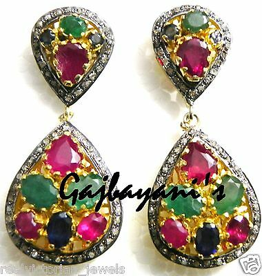 Vintage Style Pave Diamond,ruby,emerald & Blue Sapphire 925 Silver  Earring