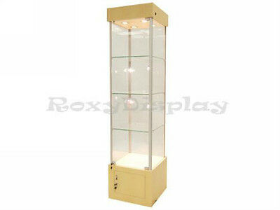 """18"""" Maple Tower Showcase Display Store Fixture Assembled W/ Lights #WL18M"""