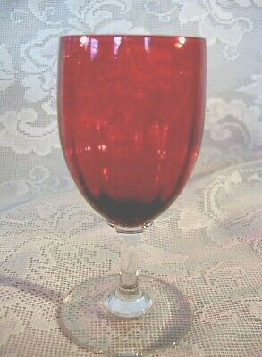 Collectible Set of 3 Ruby Red Stained Optic Glass Wine Cordial / Goblets