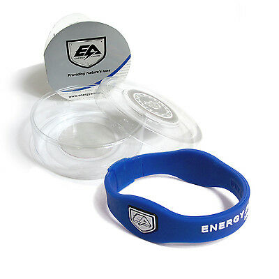 Energy Armor Superband Negative Ion Wristband Bracelet Blue with White Letters