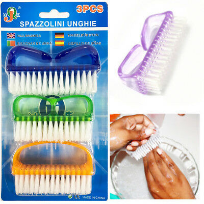 3x Scrubber Nail Cleaning Brushes Finger Toes Manicure Pedicure Bristles Hygiene