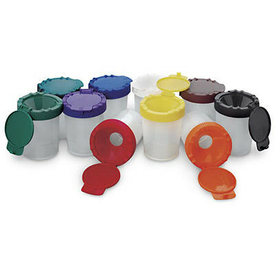 Stockmar Assorted Set of 10 No Spill Paint Plastic Cups with Color Lids - T963