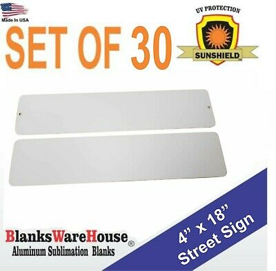 "30 Pieces MINI STREET SIGN ALUMINUM  SUBLIMATION BLANKS 4""x 18"" / WITH HOLES"