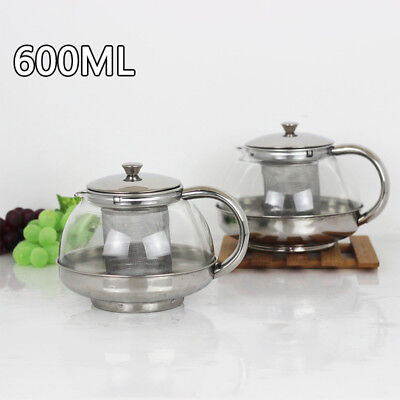 New Stainless Steel Glass Tea Pot with Leaf Strainer Infuser Teapot 600ML