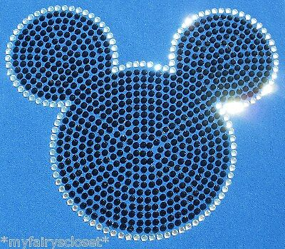 """7.6"""" Mickey Mouse iron on rhinestone transfer for shirt applique patch"""