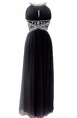 Black Embellished Maxi Dress Cocktail Prom Gown Party Prom Gown Size 8-24