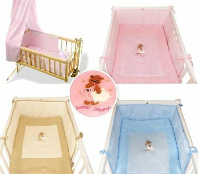 Quilt With Crib Bumper / Cradle 2 Piece Bedding Set - Embroidered Bear & Pillow