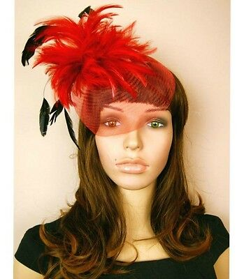 New Red Ladies Womens Wedding Races Flower Fascinator Hat Hair Clipper Veil