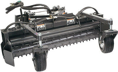 """Skid Steer Power Rake Attachment 48"""" Wide With Hydraulic Angle"""